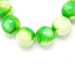 Painted with spray, glass round strands for DIY jewelry accessories 8 mm  two-tone white-green ~ 80 cm ~ 105 pieces