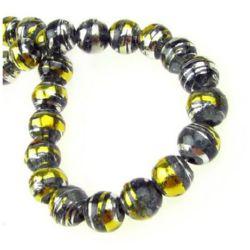 Șirag de mărgele de sticlă gaură de 8 mm 2 mm vopsite în negru / auriu ~ 110 bucăți