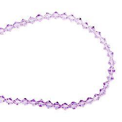 Наниз мъниста стъкло 5x4~5 мм дупка 1 мм прозрачно лилаво ~65 броя