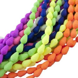 Rubber glass teardrop beads strands 15x10x10 mm hole 1 mm faceted assorted colors ~ 32 pieces