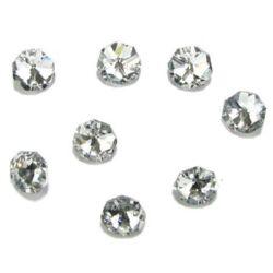 Камък кристал за пришиване 14x14x7 мм дупка 1.5 мм октагон прозрачен -4 броя