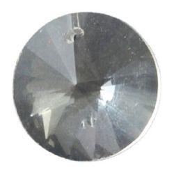 Висулка кристал кръг 18x10 мм дупка 1.2 мм