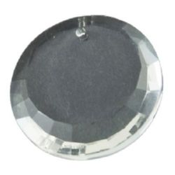 Pendant crystal circle, round glass 26x7 mm hole 1.5 mm