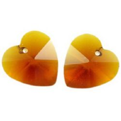 Tinted pendant crystal heart for jewelry making, brown 10x10x6 mm hole 1 mm