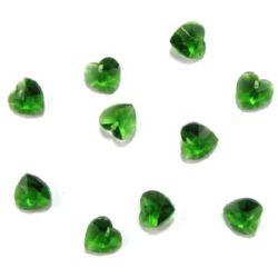 Pandantiv cristal inimă verde 10x10x6 mm gaură 1 mm