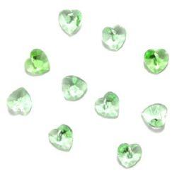 Pandantiv cristal inimă verde deschis 10x10x6 mm gaură 1 mm