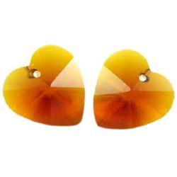 Pandantiv cristal inimă maro 14x14x8 mm gaură 1 mm