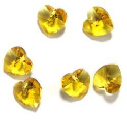 Pandantiv cristal inimă galben 14x14x8 mm gaură 1 mm