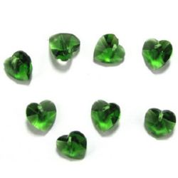 Висулка кристал сърце зелена 14x14x8 мм дупка 1 мм