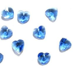Heart - crystal charm  jewellery making 14 x 14 x 8  mm