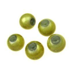 Bilă de sticlă 8 mm gaură 2 mm galben -50 grame