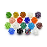 Glass round beads 14 mm with knitted effect