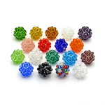 Glass round beads 22 mm with knitted effect for jewelry making