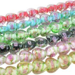 Наниз мъниста стъкло сърце 15x16 мм дупка 2 мм ръчна изработка прозрачни цветни ~ 25 броя