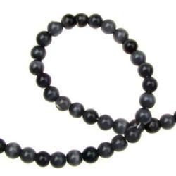 Наниз мъниста стъкло котешко око топче 6 мм дупка 1 мм черно ~66 броя