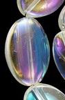 Șir Perle Sticlă Ovale 13x19x6mm Gaură 1mm Arc transparent ~ 18 bucăți