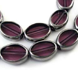 Șirag de mărgele din sticlă ovală 11x8x4 mm gaură 1 mm galvanizat violet ~ 26 bucăți