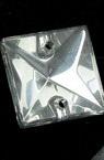 Margele de cristal pătrat 16x16x5 mm gaură 1 mm zincat - 5 bucăți