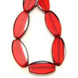 Șirag de mărgele din sticlă ovală 10x18x5 mm gaură 1,5 mm galvanizat roșu ~ 17 bucăți
