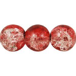 Наниз мъниста стъкло КРАКЪЛ топче 8 мм дупка 1 мм прозрачен/червен ± 100 броя