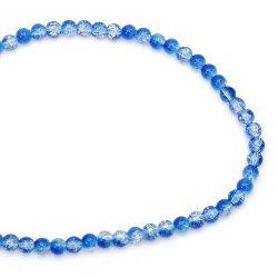 Наниз мъниста стъкло КРАКЪЛ топче 8 мм дупка 1.3~1.6 мм прозрачен/син ~ 100 броя