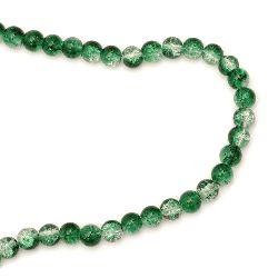 Наниз мъниста стъкло КРАКЪЛ топче 8 мм дупка 1.3~1.6 мм прозрачен/зелен ~ 100 броя