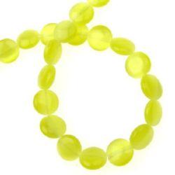 Наниз мъниста стъкло котешко око паричка 10x3 мм дупка 1 мм жълта ~40 броя