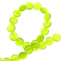 Șirag de mărgele din sticlă monedă- ochi de pisică 10x3 mm gaură 1 mm verde ~ 40 bucăți
