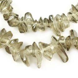 Șir de margele  de sticlă cipuri 5-7 mm măsline ~ 80 cm