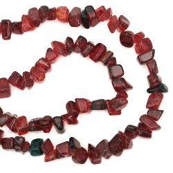 Șir de margele  de sticlă cipurii 5-10 mm roșu închis ~ 80 cm