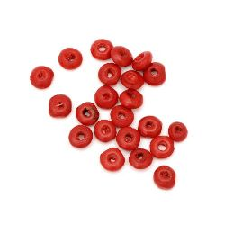 Wooden disk beads 3x6~7 mm hole 2~3 mm red - 50 grams ~ 1000 pieces