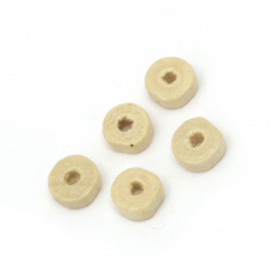 Wooden washer beads 8x3.5 mm hole 3 mm color wood - 50 grams ~ 520 pieces