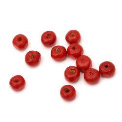 Στρόγγυλες ξύλινες χάντρες 5x6 ~ 7mm τρύπα 2mm κόκκινο -50 γραμμάρια ~ 650 τεμάχια