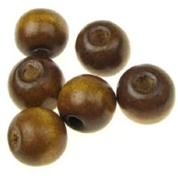 Wooden round bead for decoration 11x12 mm hole 5 mm brown with varnish - 50 grams ~ 90 pieces