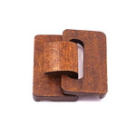 Wooden clasp for bags and belts 46x48x18 mm holes 2 mm brown