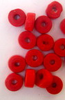 Wooden washer beads 6x3 mm hole 2 mm red - 50 grams ~ 860 pieces