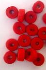Мънисто дърво шайба 6x3 мм дупка 2 мм червено -50 грама ~860 броя
