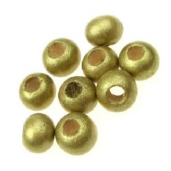 Στρόγγυλες ξύλινες χάντρες 9x10 ~ 11mm τρύπα 3,5 ~ 4mm χρυσό χρώμα -50 γραμμάρια ~ 150 τεμάχια