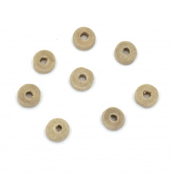 Wooden washer beads 8x4 mm hole 3 mm color natural - 50 grams ~ 520 pieces