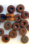 Wooden washer beads 8x3.5 mm hole 3 mm brown - 50 grams ~ 570 pieces