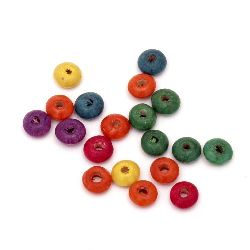 Wooden washer beads  10x4 mm hole 3 mm mix - 20 grams ± 140 pieces