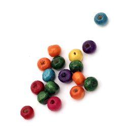 Мънисто дърво топче 6x7 мм дупка 2~3 мм МИКС -50 грама ~450 броя