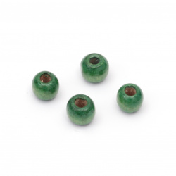 Wooden round bead for decoration 9x10 mm hole 4~5 mm green - 50 grams ~ 150 pieces