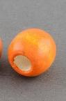 Wood beads, Round, Spray painted, orange, 11x12mm, 5mm hole, 50 grams