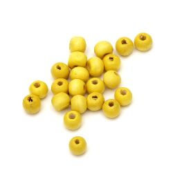 Ξύλινη χάντρα στρογγυλή 7x8 mm τρύπα 2 ~ 3 mm κίτρινο -50 γραμμάρια ~ 300 τεμάχια