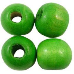 Мънисто дърво топче 7x8 мм дупка 2±3 мм зелено -50 грама ±300 броя