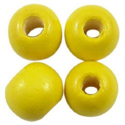 Margel rotund din lemn pentru decorație gaură de 9x10 mm 3,5 mm galben - 50 grame ± 150 bucăți