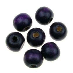 Margel rotund din lemn pentru decor 11x12 mm gaură 4 mm violet - 50 grame ~ 95 bucăți