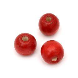 Мънисто дърво топче 13x14 мм дупка 4 мм червено -50 грама ~60 броя