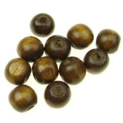 Мънисто дърво топче 11x12 мм дупка 4 мм кафяво светло -50 грама ~ 95 броя